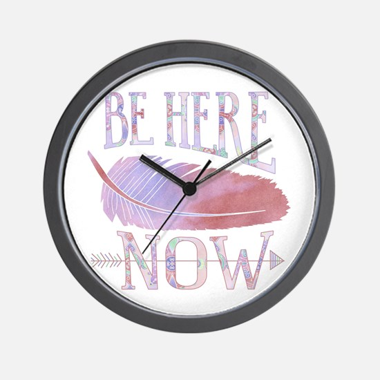 Be Here Now Purple Wall Clock