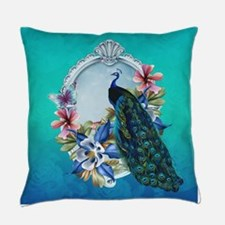 Peacock Design With Flowers Everyday Pillow