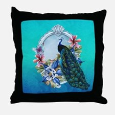 Peacock Design With Flowers Throw Pillow