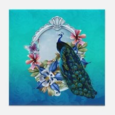 Peacock Design With Flowers Tile Coaster