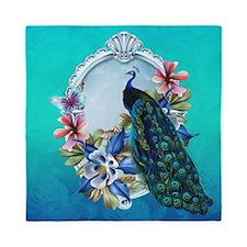 Peacock Design With Flowers Queen Duvet