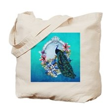 Peacock Design With Flowers Tote Bag