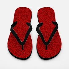 Renaissance Red Tudor Floral Flip Flops