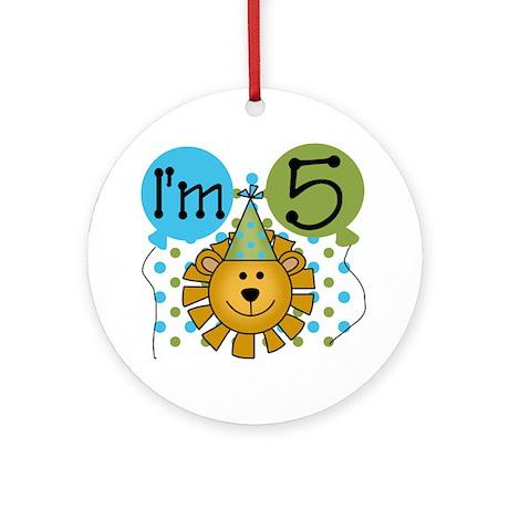 Lion 5th Birthday Ornament (Round)