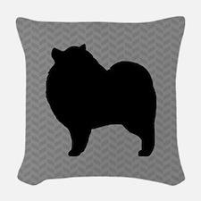 Keeshond Silhouette Woven Throw Pillow