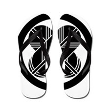 Intersecting hawk feathers in circle Flip Flops