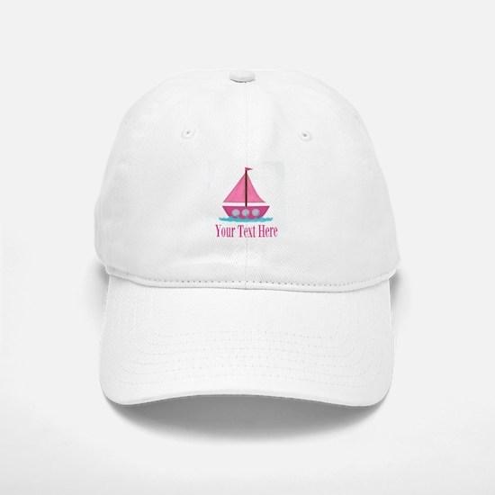 Pink Sailboat Personalizable Baseball Baseball Baseball Cap