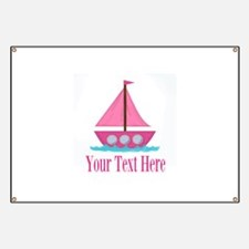 Pink Sailboat Personalizable Banner