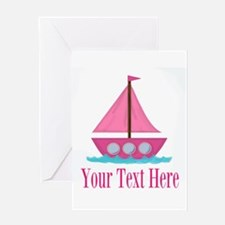 Pink Sailboat Personalizable Greeting Cards