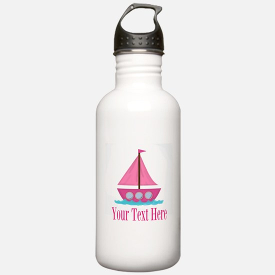Pink Sailboat Personalizable Water Bottle