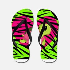 Sea Turtle Pink Green Zebra Flip Flops