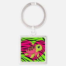Sea Turtle Pink Green Zebra Keychains