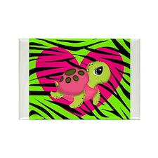 Sea Turtle Pink Green Zebra Magnets