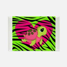 Sea Turtle Pink Green Zebra Magnets