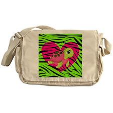 Sea Turtle Pink Green Zebra Messenger Bag