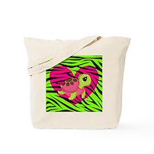 Sea Turtle Pink Green Zebra Tote Bag