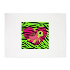 Sea Turtle Pink Green Zebra 5'x7'Area Rug