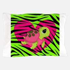 Sea Turtle Pink Green Zebra Pillow Case