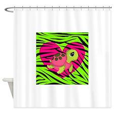 Sea Turtle Pink Green Zebra Shower Curtain