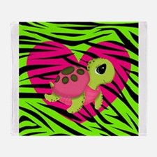 Sea Turtle Pink Green Zebra Throw Blanket