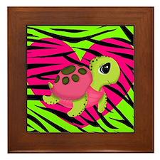 Sea Turtle Pink Green Zebra Framed Tile