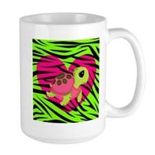 Sea Turtle Pink Green Zebra Mugs
