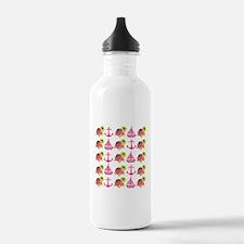 Pink Nautical Pattern Water Bottle