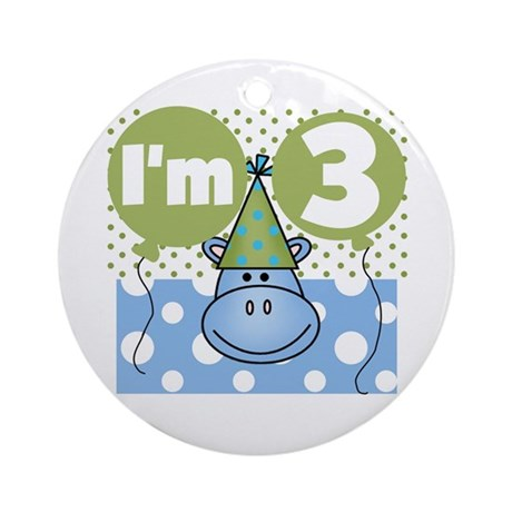 Hippo 3rd Birthday Ornament (Round)