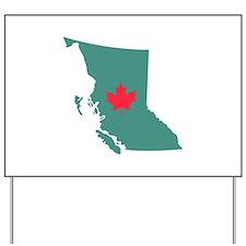 British Columbia Canada Province Map Yard Sign