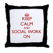 Keep Calm and Social Work ON Throw Pillow