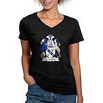 Longden Family Crest Women's V-Neck Dark T-Shirt