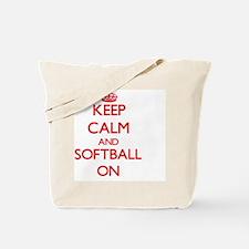 Keep Calm and Softball ON Tote Bag