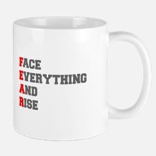 face everything and rise-fresh red gray Mugs