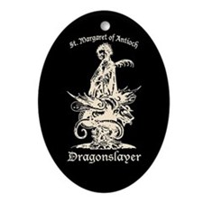 St. Margaret Dragonslayer Dark Oval Ornament