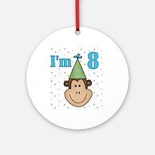 Monkey 8th Birthday Ornament (Round)