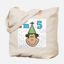 Monkey 5th Birthday Tote Bag