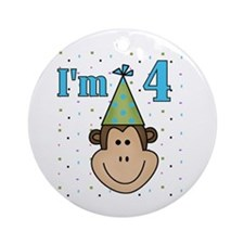 Monkey 4th Birthday Ornament (Round)