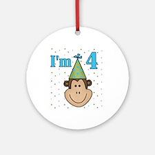 Monkey 4th Birthday Ornament (Round)
