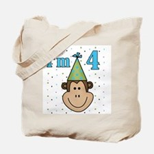Monkey 4th Birthday Tote Bag