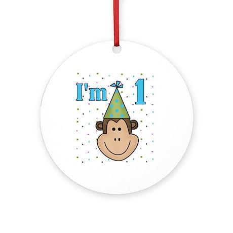 Monkey 1st Birthday Ornament (Round)