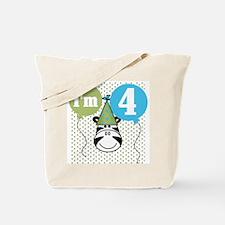 Zebra 4th Birthday Tote Bag