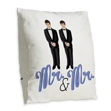Mr.& Mr. Burlap Throw Pillow