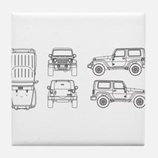Jeep JK Wrangler Multi View Tile Coaster