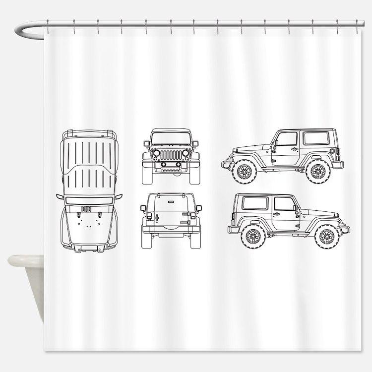 Jeep JK Wrangler Multi View Shower Curtain