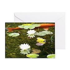 Koi with Waterlilies Photo Card