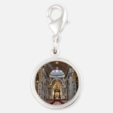 St. Peter's Basilica Silver Round Charm