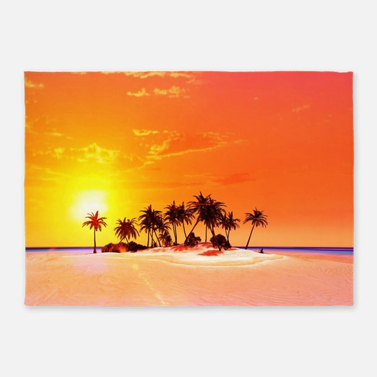 Beautiful tropical island 5'x7'Area Rug