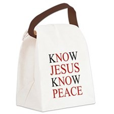 Know Jesus Know Peace Canvas Lunch Bag