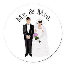 Mr.& Mrs. Round Car Magnet
