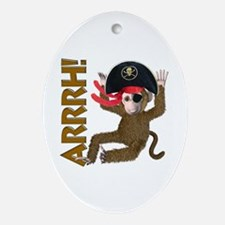 Pirate Monkey Oval Ornament